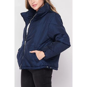High Neck Chevron Quilted Puffer Jacket