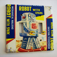 retro robot switch plate 1950's sci fi vintage tin toy outer space decor kitsch