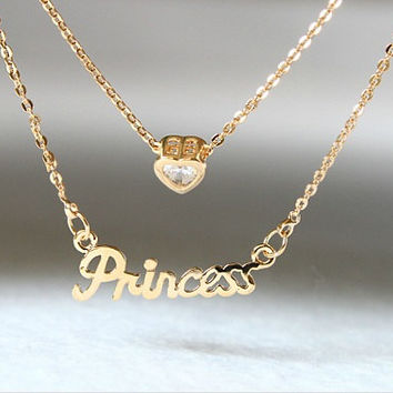 "14k gold plated, ""princess"" necklace, gold necklace,monogram words necklace, unique gift jewelry,personalized gift"