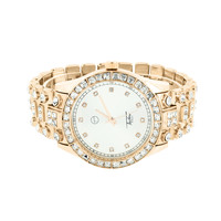 Iced Out Mens Watch White Dial Rose Gold Finish Simulated Diamonds Round Cut New