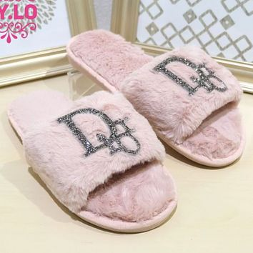 Dior fashion new home bright diamond flat-bottomed warm cotton and wool slippers