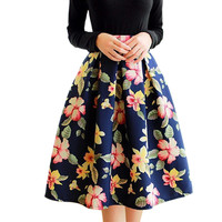 High Waist Pleated Midi Skirt Women Houndstooth Floral Print Long Skirts 2016 Summer Faldas largas Saia feminina Jupe femme