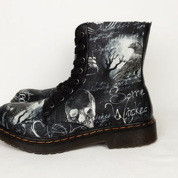 Gothic boots, haunted, custom shoes, goth boots, black boots, combat boots, women shoes, black bird, crow, darkness,  alternative,  alt