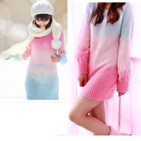 Gradient color Long Sleeve Loose Knitted Sweater Knitwear Cardigans Tops Women F_F (Color: Pink) = 1902732356
