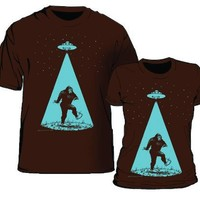 Bigfoot Abducted By Ufo Brown Women's T-shirt
