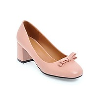 Sweet Bow Knot Thick Heel Shallow Mouth Square Head Middle Heels Women Pumps