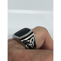 Vintage Celtic Black Onyx stainless steel Mens Ring