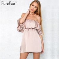 New Off the Shoulder Slash Neck Ruffled Satin Party Dress Ukraine Summer Women Sexy Club Mini Silky Slim Shape Princess Dress