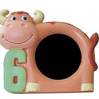 "Brown Cow 6th Birthday 6 Years Old Picture Frame 3"" x 5"" Cute Photo Frame"