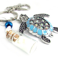 Sea Turtle Keychain, Car Accessory, Turtle Keychain, Beach Keychain, Sea Shell in Bottle Keychain