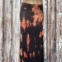 Tigers Eye Tie Dyed Long Maxi Skirt