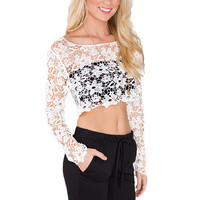 Eve Lace Crop Top - White