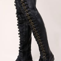 Black Leather Over the Knee OTK Thigh High Boots | Thrifted & Modern