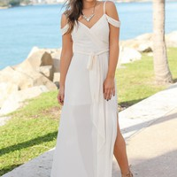 Cream Off Shoulder Maxi Dress with Side Slit