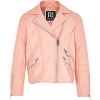 River Island Girls peach leather-look biker jacket