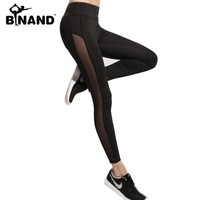 BINAND Women's Mesh Cooling Workout Running Ankle Pants Stretchy Flash Drying Mid-Rise GYM Active Black Yoga Tight Leggings