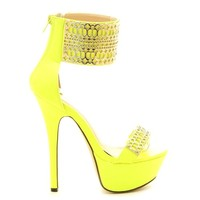 Helena-89 Neon Yellow Open toe Platform Pump Stiletto Heel - Cutesy Originals