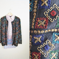 Holiday Glitter - Vintage 80s Sequin Beaded SILK Jacket Oversized XL Layer Top