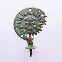 90s Brass Sun Wall Mounted Candle Holder, Shabby Chic Turquoise, Outdoor Indoor Garden