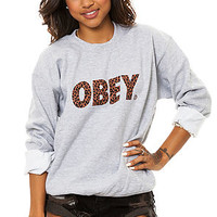 The Obey Cheetah Font Crewneck in Sports Gray
