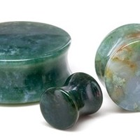"GREEN INDIA AGATE STONE Double Flare Plugs 10g - 1"" - Price Per 1 - 1"" to 3"" Plugs & Tunnels (25-50mm) - Plugs & Tunnels by Size - Plugs and Tunnels - Body Jewelry - Painful Pleasures"
