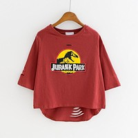 Women T-shirt Casual Harajuku Cute Cartoon Dinosaur Loose Fit Hole Tee