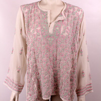 Vintage - Embroidered White Pink Mint Green Floral Heart Paisley Sheer See Through Long Sleeve Tunic Blouse Top Shirt - Hippie New Age Boho