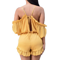 Cold Shoulder Ruffle Trim Romper 10226