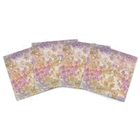 """Marianna Tankelevich """"Retro Summer"""" Yellow Pink Indoor/Outdoor Place Mat (Set of 4)"""
