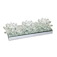 Triple Lotus Tealight Holderon Mirror Base,Clear