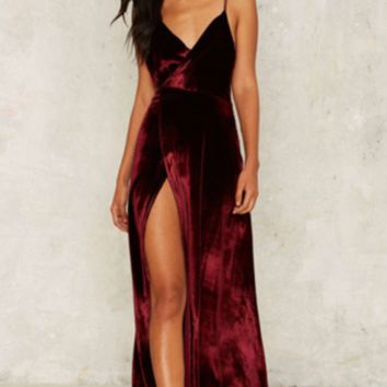 Sexy Burgundy Velvet Backless Maxi Evening Cocktail Long Party Dress