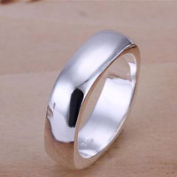 925 Sterling Silver Ring Band   Square Ring Band   Silver Plated Ring Band   Men's Ring Band   Fashion Jewelry   Gift for Him   Xmas Gift