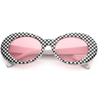 1990's Rad Clout Goggle Checkered Colored Lens Oval Sunglasses - Shop Jeen - powered by Hingeto