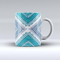 The Ethnic Aztec Blue and Pink Point ink-Fuzed Ceramic Coffee Mug