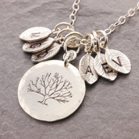 Tree of Life Necklace, family necklace, mother necklace, grandma necklace, initial necklace, personalized jewelry, mothers day gift, N13