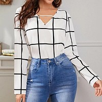 Black And White Office Lady Elegant Front V-Neck Long Sleeve Plaid Blouse Workwear Women Tops And Blouses