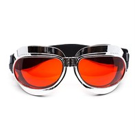 Foldable Chrome Goggles with Red Lenses | Cyber Rave Burner Goggles from RaveReady