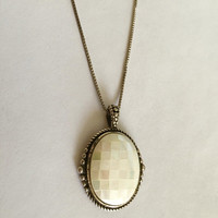 "Vintage Mosaic Mother of Pearl Pendant in Sterling Silver Setting with 18"" Sterling Box Chain, Victorian Pendant, Mother of Pearl"