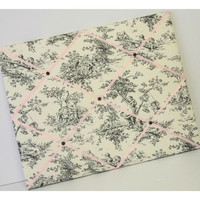 Central Park Toile Black & Pink fabric Memo Board