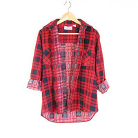 Vintage 90s Flannel Shirt -- Red & Navy Blue Plaid -- Soft Thin Long Sleeve Flannel -- Button Down Work Shirt -- Unisex Mens Womens S