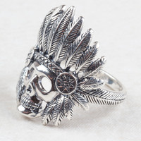 Skull with Indian Headdress Ring