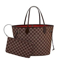 shosouvenir Louis Vuitton Damier Canvas Neverfull MM Red Shoulder Handbag