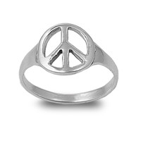 925 Sterling Silver Peace Over Violence 12MM Ring