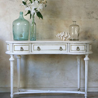 SOLD Antique Louis XVI Vanity in White with Gold - $835 - The Bella Cottage