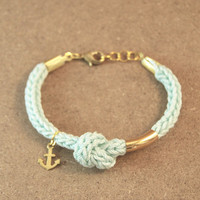 Knot bracelet, nautical bracelet with anchor charm and knot, mint bracelet, anchor bracelet