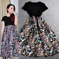 Black Knitted Short  Sleeve Printed Swing Maxi Dress