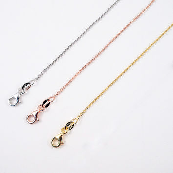 """.925 Sterling Silver 1mm Cable Chain Necklace for Pendants 18"""" ITALY"""