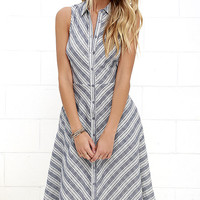 Oui Found Love Denim Blue Striped Midi Dress