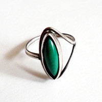 Malachite Silver Ring Marquis Stone Green Vintage Small Child Size 4 5 Dainty