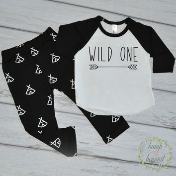 Wild One First Birthday Photo Props Wild One 1st Birthday 1 Year Old Birthday Shirt One Year Old Boy Clothes Hipster Boy Clothes 196
